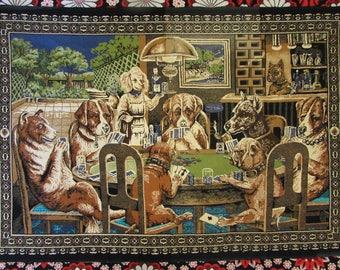 Dogs Playing Poker Tapestry/Wall Hanging