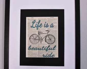 Life Is A Beautiful Ride Bicycle On Upcycled Vintage Dictionary Page Wall Décor, Inspirational Bicycle Print