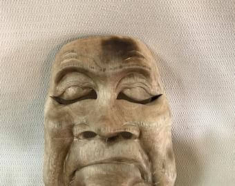 Wooden Asian Theater  Mask Wall Art #3  Wood Hand Carved 3 Dimensional OOAK Folk Art