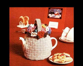 Flower Basket Tea Cosy - Digital Knitting Pattern