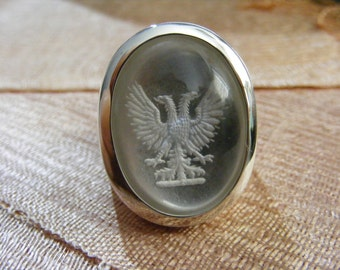 Rock Crystal Ring Regnas Genuine Gemstone Cabochon Mans Sterling Silver 925