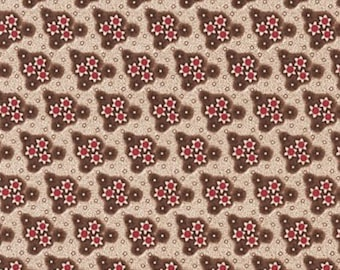 "By The HALF YARD - Edith designed by Mary Koval for Windham, #40162-1, 1840-1870 Civil War, 3/4"" Cream & Red Flower Bunches on Tonal Browns"