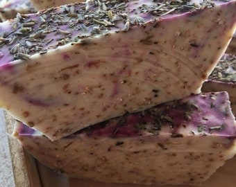 Handmade goats milk soap with lavender and oatmeal