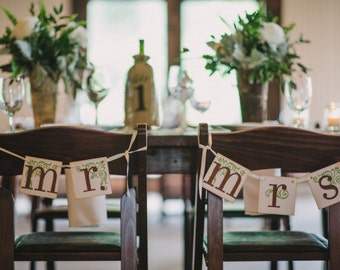 Rustic Wedding Banners Mr. and Mrs. / Wedding Sign / Wedding Decor / Brown and Green