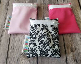 Wet bag Set of 3 ~ Travel Size Mini Zippered Damask WetBag ~ Binky Bag ~ Cosmetic Purse Bag