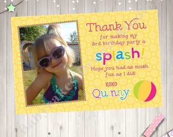 Pool Party Photo Thank You Card Printable