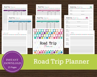 Road Trip Planner - Printable and Editable - Travel Planner - Vacation Planner - INSTANT PDF DOWNLOAD - 25 Pages