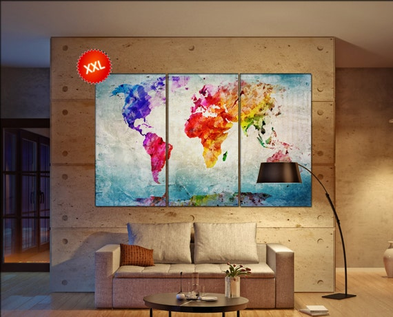canvas world map  print on canvas Large canvas world map art artwork canvas world map World Map Print home office decoration