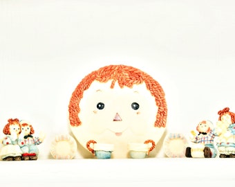 Vintage Raggedy Ann and Andy Miniature Resin Doll Tea Set