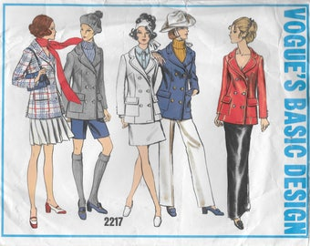 Vogue 2217 Basic Design Misses 60s Double-Breasted Jacket Sewing Pattern
