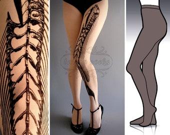 L/XL Fish Bone  tattoo tights / stockings / full length / pantyhose / nylons Grey