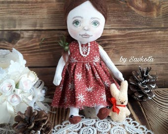 Textile doll/ hand-painted dolls/ doll cotton/ rag doll/ art doll/ decorative doll/ collectible dolls