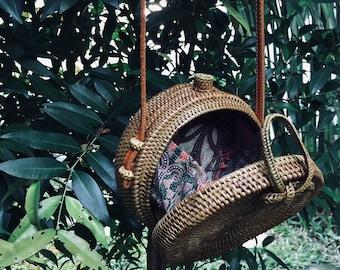Handmade Balinese Round Rattan Bag