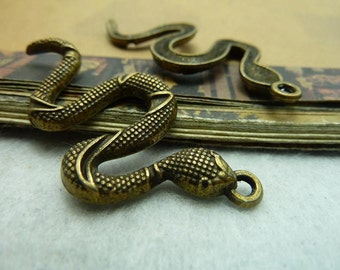 10 Large Snake Charms Antique Bronze Tone - WS5655