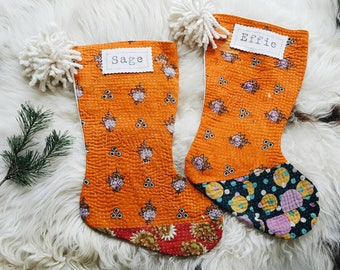 Colorful Boho Christmas Stocking - Bohemian Christmas Decor- Kantha Stocking