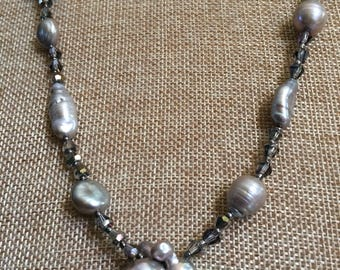Long Freshwater Grey Pearl and Crystal Cluster Necklace and Earrings Set