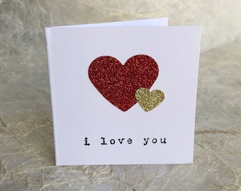 Mini Valentine Cards//3x3//Glitter//Hearts//I Love You//Individual
