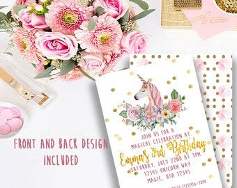 Digital Magical Unicorn Watercolor Birthday Invitation
