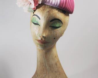 Vintage hat / 1940s hat / Multi colored hat