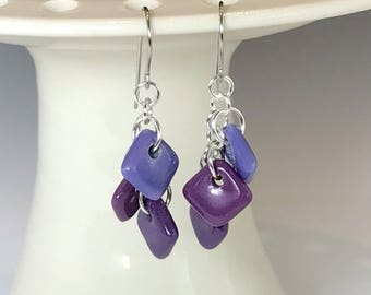 Purple Ceramic Earrings, Sterling Silver and Porcelain Earrings, Dangle Earrings, Surgical Steel or Sterling Ear Wires, Ceramic Jewelry