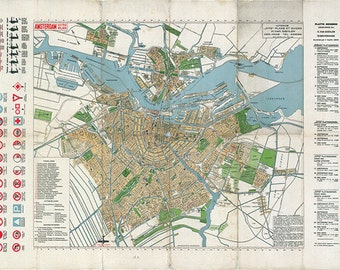 Antique Dutch Map Etsy - Amsterdam old map