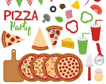 Pizza Clipart, Pizza Party Clip Art, Pizzeria, Italian, Pepperoni, Printable, Commercial Use