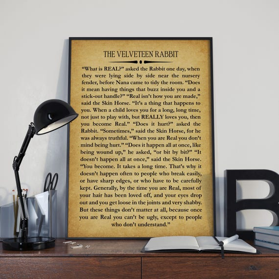 Velveteen Rabbit Book Wall Art by Margery Williams Large Book