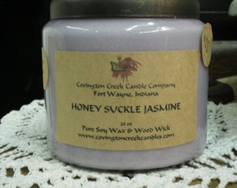 Honeysuckle Jasmine 16 oz Cocout Soy Wax Blend Candle