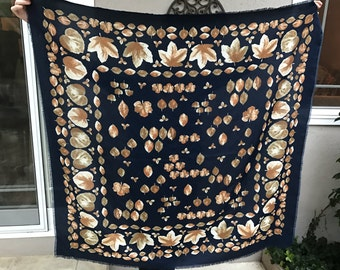 90s Navy Blue Square Scarf with Leaves Leaf Pattern