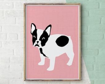 French Bulldog Print, French Bulldog Gift, French Bulldog Art, Dog Illustration, Cute Dog Print, Pink Dog, English Bulldog, Printable Dog