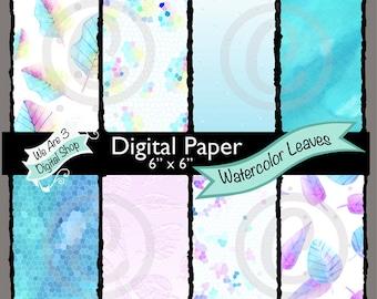 We Are 3 Digital Paper, Watercolor Leaves