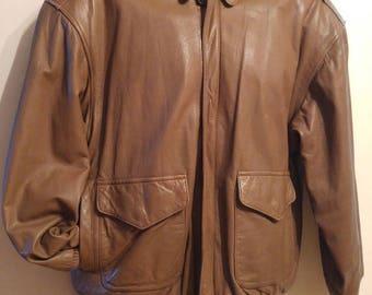 Mens L 42S SHORT Aviator Bomber Jacket Vintage Like new Brown Lovely Leather Pelle