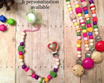 BOGO Sale - Pacifier Clip - Custom Baby Clip - Personalized Mermaid Baby - Newborn - Gift - Baby Girl - Baby Pink - Mermaid - Rainbow