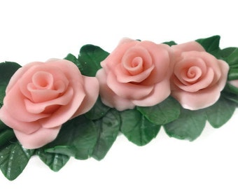 Hair accessory. Jewelry.  Automatic hairpin. Polymer clay. Flowers roses. Roses from polymer clay.
