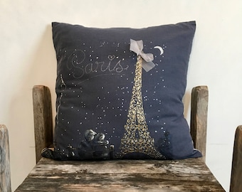 Night Sky Hand-painted Paris Pillow, Painted Pillow case, Navy Blue Pillow, Classic French Decor, Parisian Pillow,20x20,night sky pillow