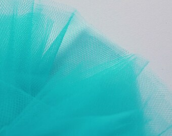 Bright Jade Green Turquoise Aqua Fine Tulle fabric 300cm wide - sold by the metre - net suitable for underskirt, pleating & drapes (F2)