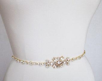 Gold skinny belt, Bridal belt sash, Bridal crystal sash, Swarovski crystal wedding belt, Rhinestone bridal belt, Skinny bridal belt sash