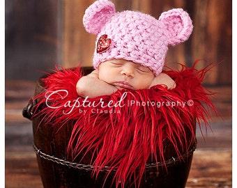 Baby Pink Newborn Teddy Bear Hat