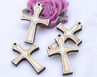 20 crosses, wooden cross drops, Unfinished Wooden Cross Charms, Stripe Carved wood cross pendants, jewelry cross 34x24mm