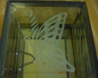 French Vintage White Butterfly Jewelry Glass Box with Mirror