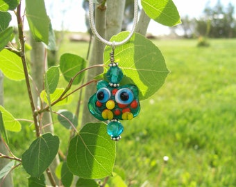 Lampwork Glass Bead Owl Pendant Necklace With Silver Chain