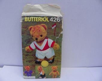 Vintage Butterick Sewing Pattern , Butterick 426 , Sewing Craft Pattern , Teddy Bear Pattern - Sports Teddy , Teddy Bear Making Supplies