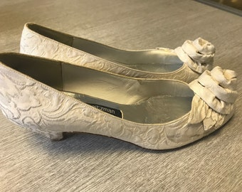 Vintage Stuart Weitzman for Russell & Bromley Ivory Jacquard Wedding Shoes US 6.5 UK 4.5