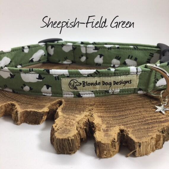 Sheep Dog Collar, or, Sheep Dog Lead, Sheepish Field Green, Green Dog Collar, Sheep Collar, Sheep Lead