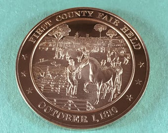 Franklin Mint Medal History of United States Series First County Fair Held 1810, 44 mm Bronze Mint Condition<>#PSY-97