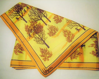 VERA Scarf in Yellow Brown Orange Fall Trees and Children / Long Rectangular Neck Scarf - Designed by Vera Neumann - Teacher Gift