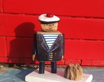 Le petit marin en bois flotté Bleu marine mer Bois flotté Driftwood récup'art recyclage rayure Pompom