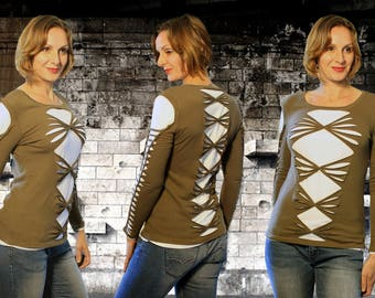 T-shirt long-sleeved Green Khaki with Ecru lining, cut and braided