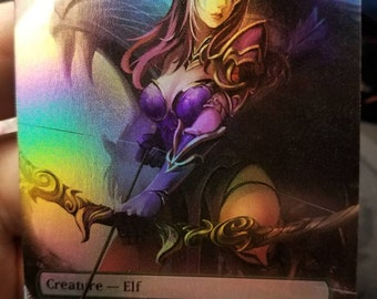 Foil Elvish Champion full art casual play card for mtg with new card back