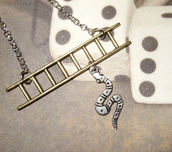 Snakes and Ladders, Quirky Necklace, Mixed Metal, Silver Bronze, Silver Snake Charm, Snake Necklace, Board Game Jewelry, Snake Pendant